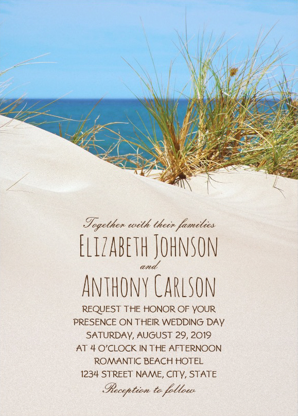 Unique Beach Themed Wedding Invitations - Ocean Sand