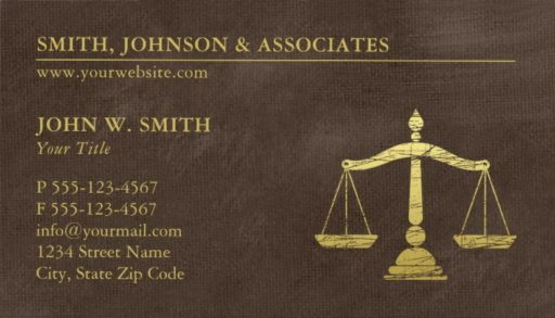 Lawyer Scales of Justice Business Cards - Gold effect Brown Canvas