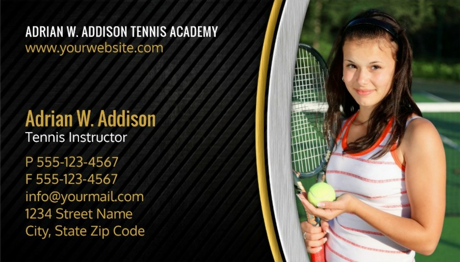 Tennis club photo business cards