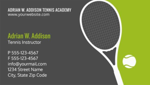 Tennis instructor business cards for tennis clubs, schools and coaches