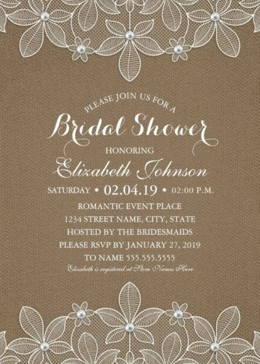 Burlap Lace Bridal Shower Invitations - Rustic Lace and Pearls Cards