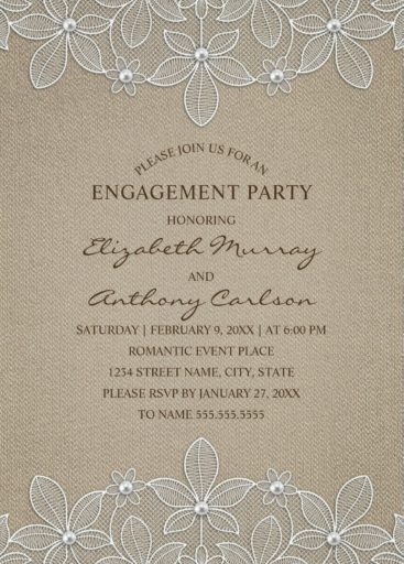 Country Burlap Engagement Party Invitations - Lace and Pearls Cards