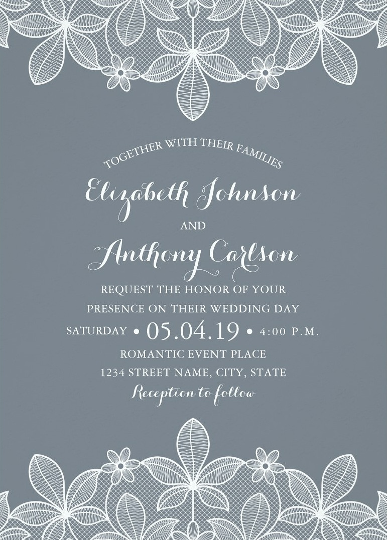 Elegant Luxury Lace Wedding Invitations