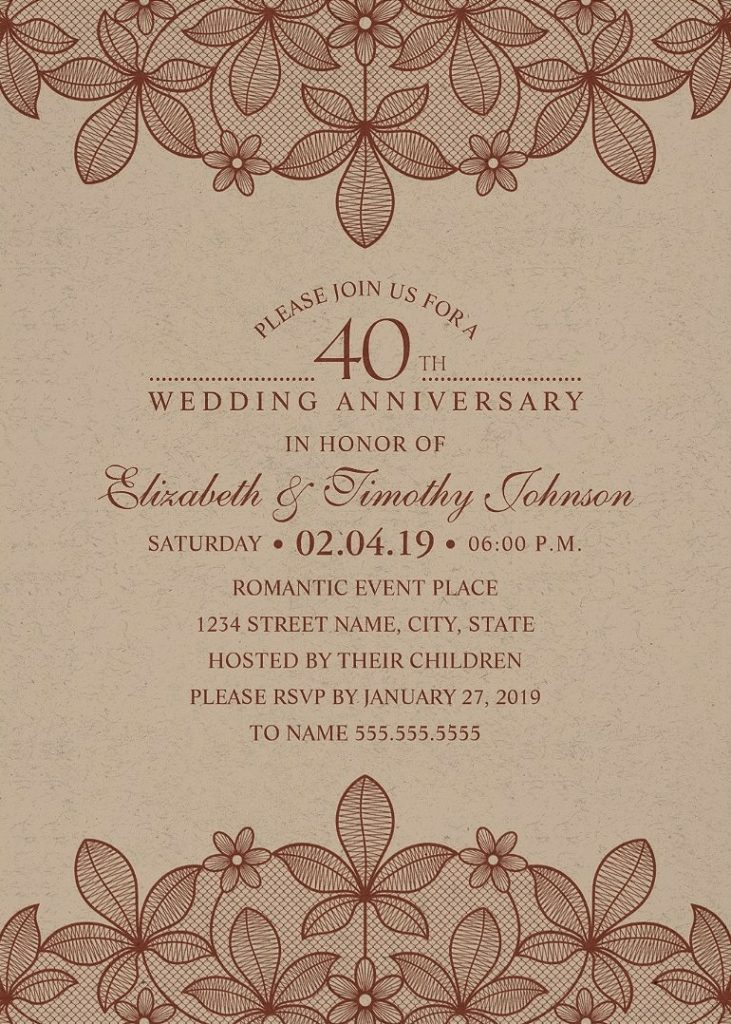 Kraft Paper 40th Wedding Anniversary Invitations - Rustic Lace Cards
