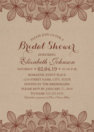 kraft paper rustic bridal shower invitations vintage country lace cards