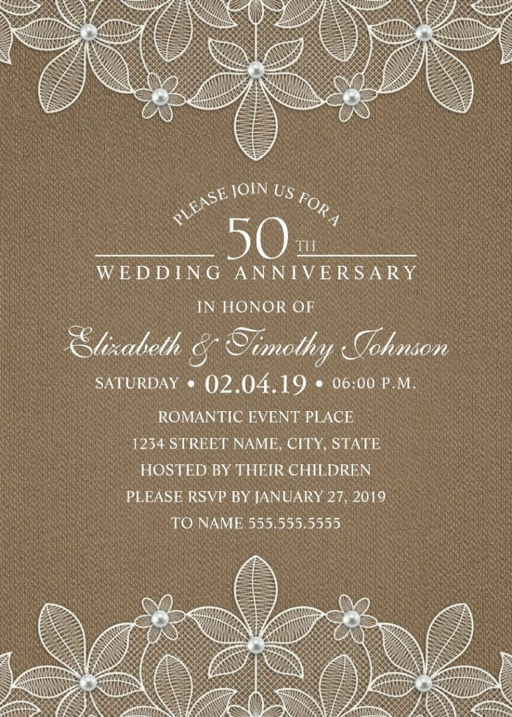 Rustic Burlap 50th Wedding Anniversary Invitations - Lace and Pearls Cards