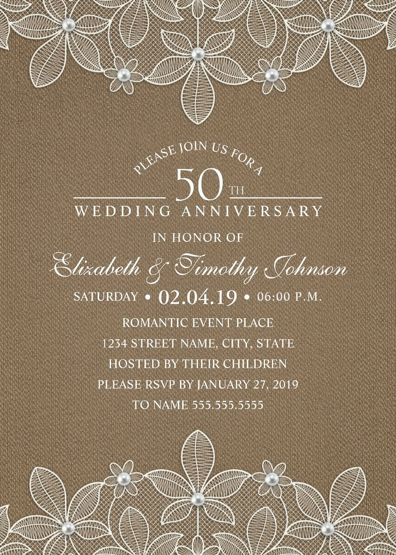 anniversary invitations 50th wedding anniversary invitations Rustic Burlap 50th Wedding Anniversary Invitations Lace and Pearls Cards