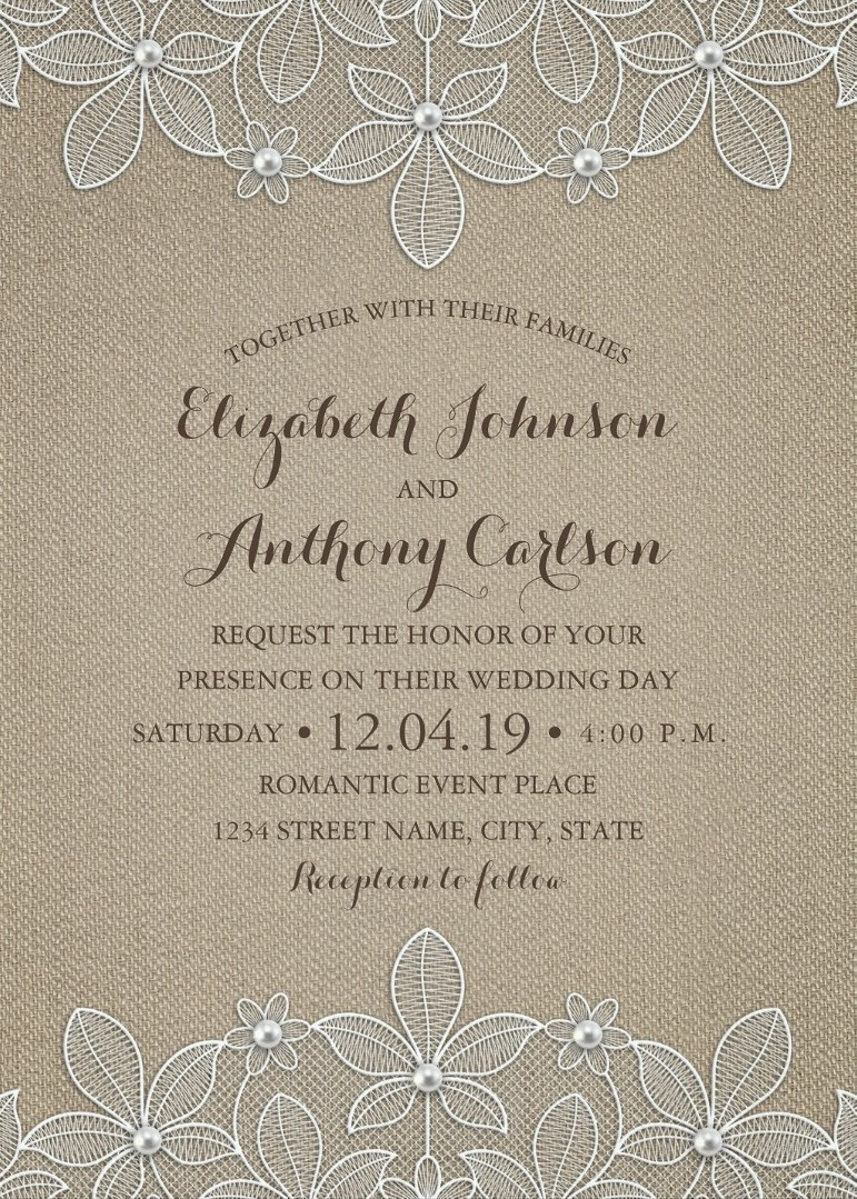 Rustic Burlap Lace Wedding Invitations - Elegant Country Luxury Cards