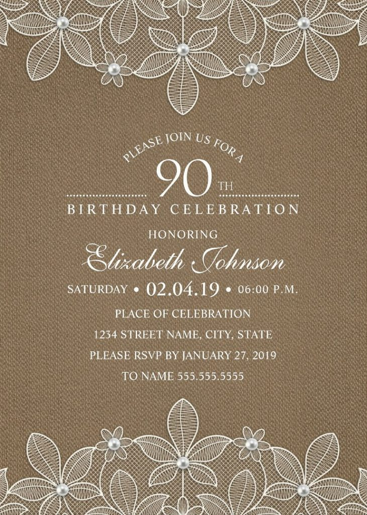 Country Burlap 90th Birthday Invitations - Lace and Pearls Party Cards