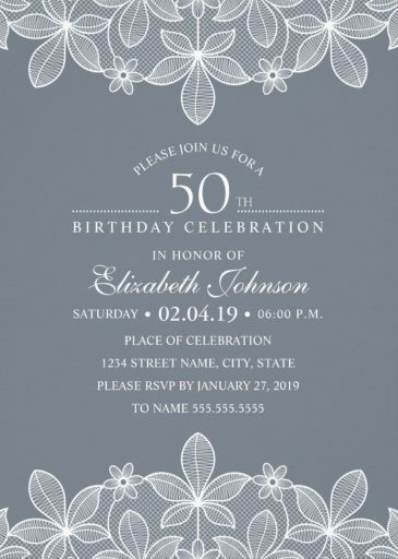 Elegant Lace 50th Birthday Invitations - Creative Luxury Cards