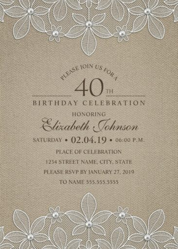 Rustic Burlap 40th Birthday Invitations - Lace and Pearls Party Cards