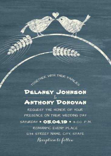 Rustic Love Bird Wedding Invitation, Modern Wedding Invitation, Dusty Blue Wood