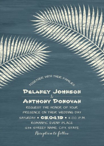 Tropical Beach Wedding Invitation, Palm Tree Wedding Invitation, Modern Dusty Blue