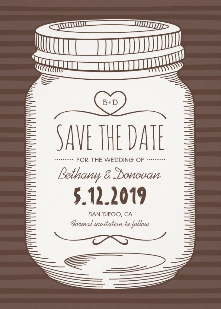 Vintage Mason Jar Save The Date Invitations – Unique Rustic Country Cards