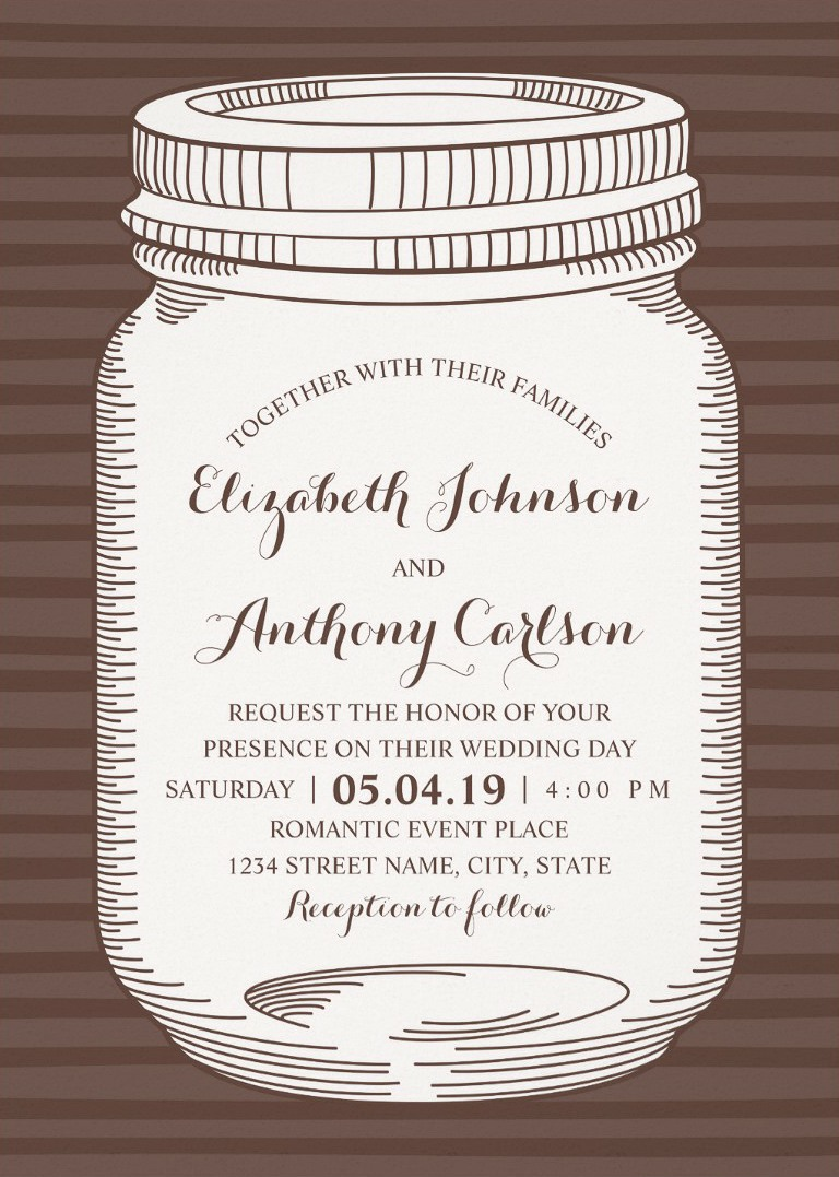 Vintage Mason Jar Wedding Invitations - Unique Rustic Country Cards