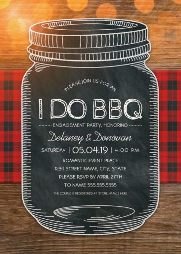 I Do BBQ Engagement Party Invitations – Unique Rustic Vintage Mason Jar Cards