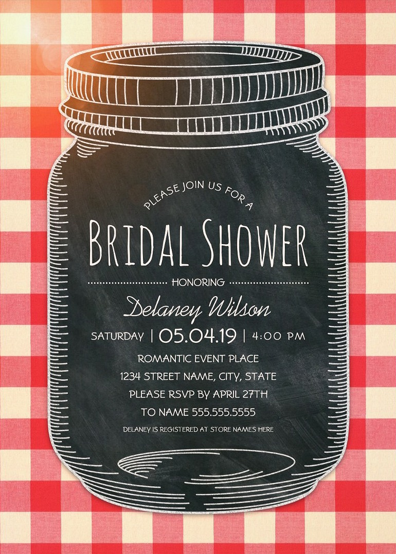 Romantic Mason Jar Outdoor Bridal Shower Invitations – Unique Rustic Country Cards