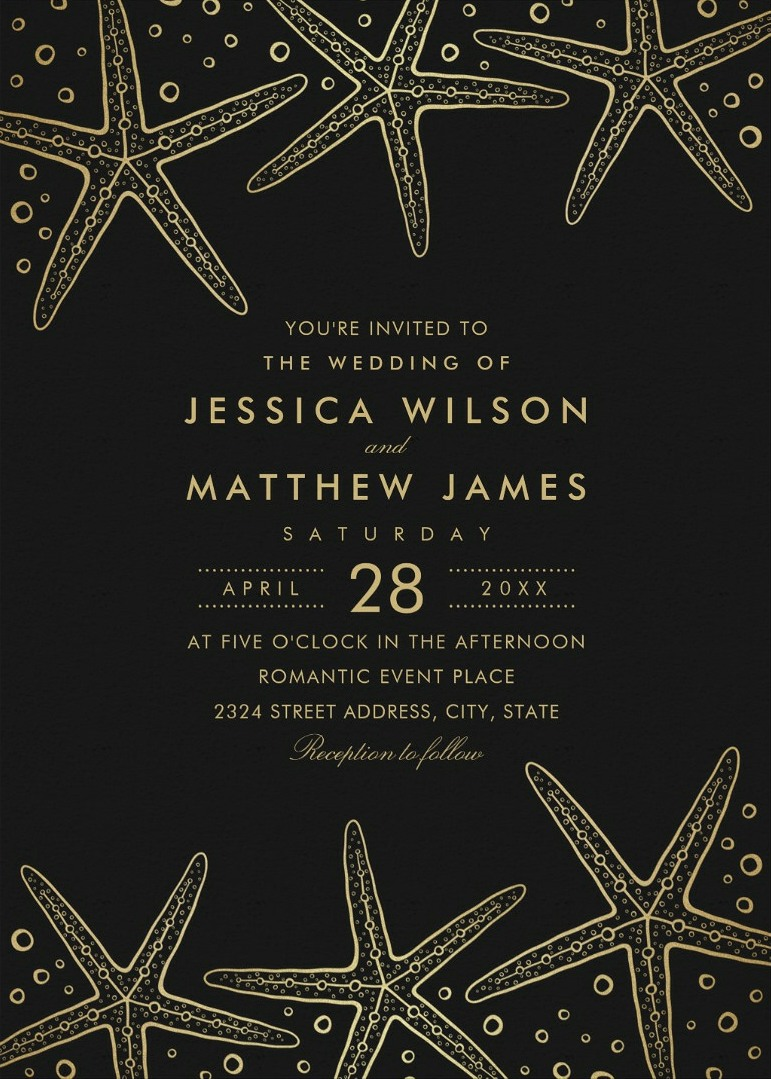 Nautical Beach Starfish Wedding Invitations