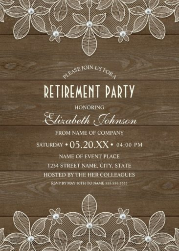 Rustic Wood Retirement Party Invitations Lace Pearls Retirement Party Invitations