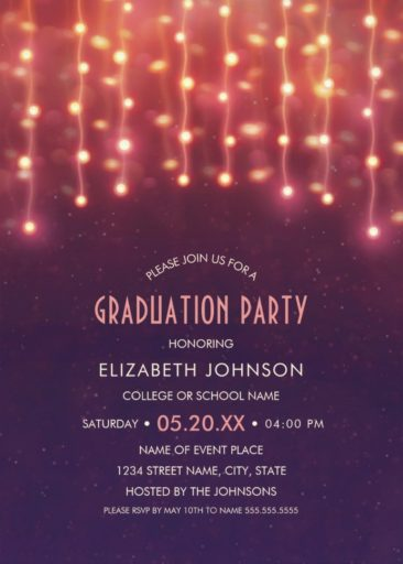 String Lights Graduation Party Invitations Unique Grad Party Invitations
