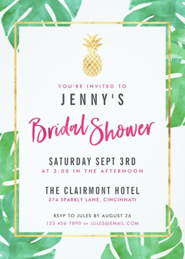 Tropical Bridal Shower Invitations - Pink & Gold Pineapple Bridal Shower Cards