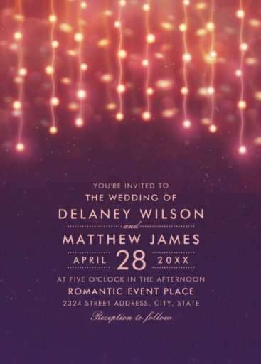 Unique String Light Wedding Invitations - Rustic Sky Wedding Invitations