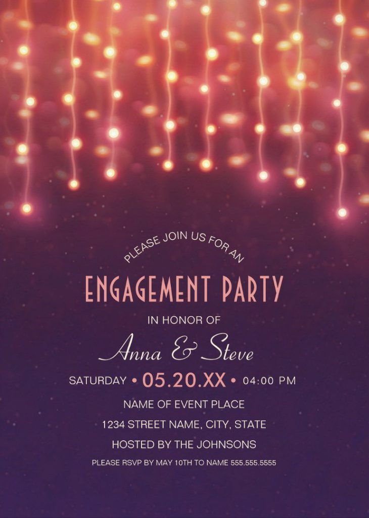 Unique String Lights Engagement Party Invitations – Creative Couples Shower Invitations