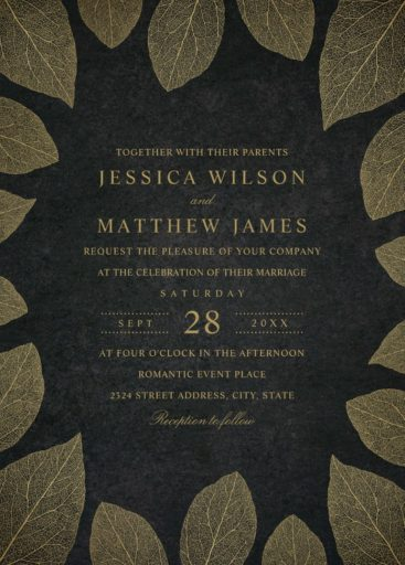 Elegant Fall Wedding Invitations Rustic Gold Leaves Wedding Invitations