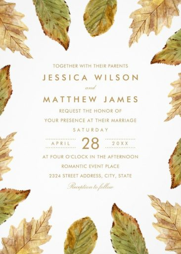 Fall Themed Wedding Invitations Rustic Watercolor Leaves Wedding Invitations