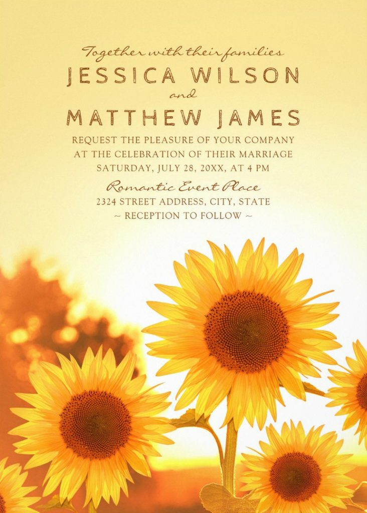 Rustic Sunflower Wedding Invitations Best Modern Floral Summer Wedding Invitations