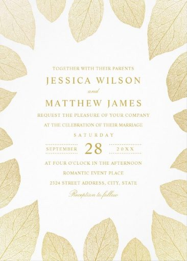 Elegant Wedding Invitations Gold Leaves Fall Wedding Cards