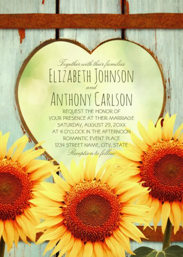 Unique Vintage Rustic Sunflower Wedding Invitations Creative Country Wooden Heart Wedding Invites