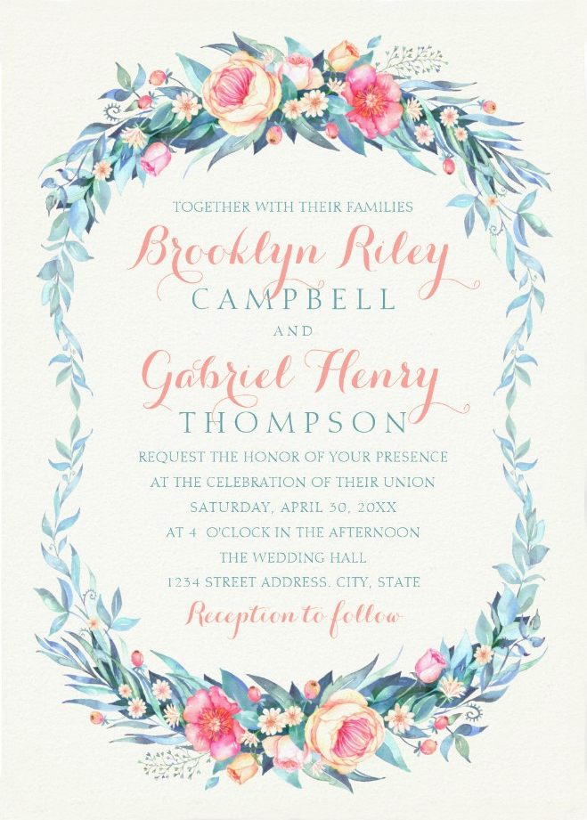 Elegant Floral Wedding Invitations - Watercolor Spring Wedding Cards