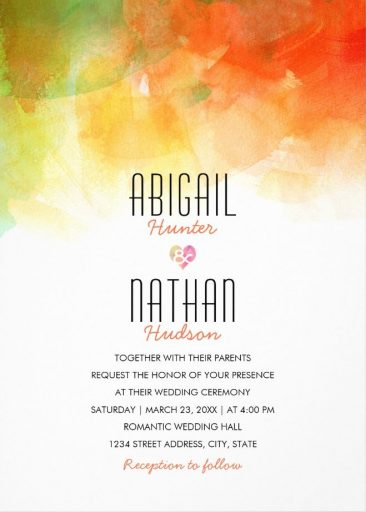 Watercolor Wedding Invitations - Creative Modern Wedding Cards