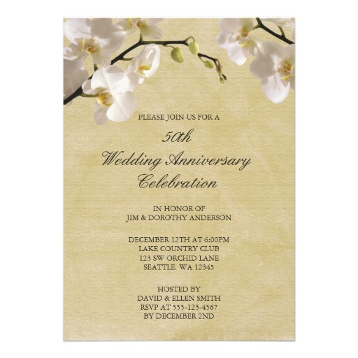 50th wedding anniversary vintage white orchid invitation ...