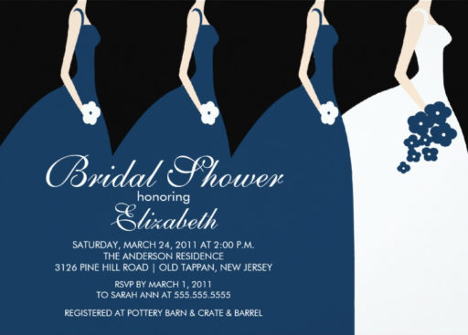 Blue Bride Bridesmaids Bridal Shower Invitation