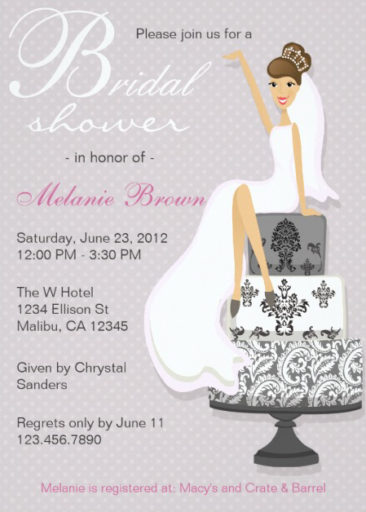 Chic Pink Modern Bride Bridal Shower Invitation