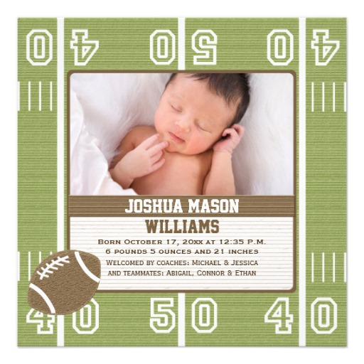 Football photo birth announcement Superdazzle Custom – Football Birth Announcements