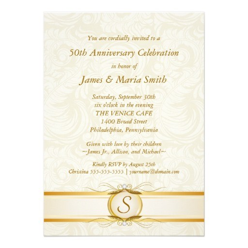 Gold ivory damask 50th anniversary invitation back