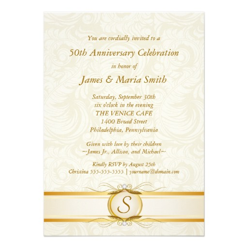 Gold ivory damask 50th anniversary invitation - Superdazzle - Custom Invitations & Business Cards