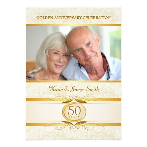 Gold ivory damask 50th anniversary invitation