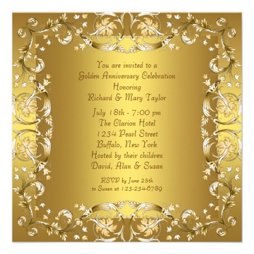 Gold victorian flowers gold 50th anniversary invitation gold victorian flowers gold 50th anniversary invitation back stopboris Image collections