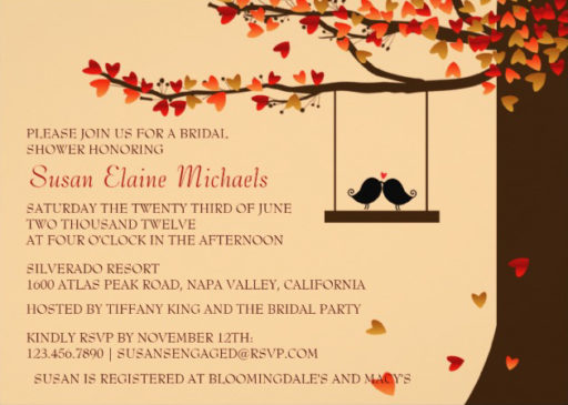 Love Birds Oak Tree Bridal Shower Invitation