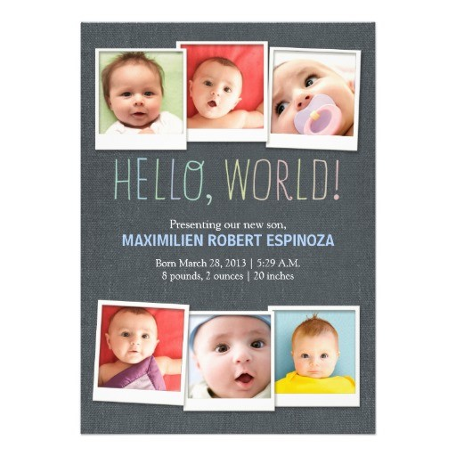 Modern multi photo baby birth announcement