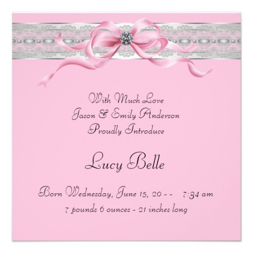 pearls pink baby girl photo birth announcement superdazzle
