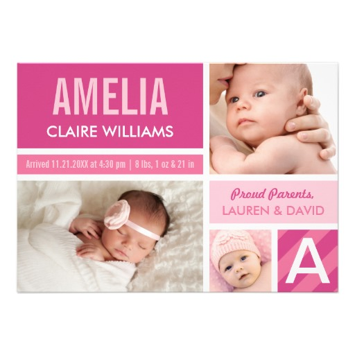 Photo birth announcement color block collage