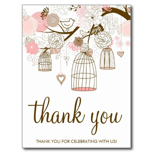 Pink And Brown Flowers Birdcages Thank You Card Postcard