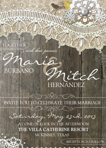 Rustic Wood Lace Floral Wedding Invitation