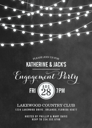 Summer String Lights Engagement Party Invitation