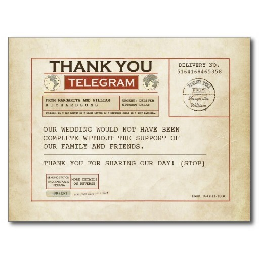 Telegram thank you card for wedding postcard